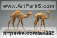 Bronze African Animal and Wildlife sculpture by Camilla Le May titled: 'Pair of Baby Camels (Small Bronze Walking statuettes/sculpture/statue)'