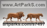 Bronze Endangered Animal Species sculpture by Camilla Le May titled: 'Pasha and Nero (Bronze Little small Lions Walking Indoor Tabletop statue)'