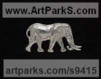 Hallmarked stirling silver Elephants (Pachederms) Sculptures, African, Indian, Sumatran sculpture by Camilla Le May titled: 'Satao as silver brooch'