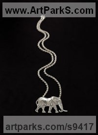 Hallmarked silver Elephants (Pachederms) Sculptures, African, Indian, Sumatran sculpture by Camilla Le May titled: 'Satao, the largest big tusker in Kenya as necklace'