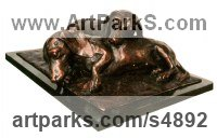 Bronze resin, Avail in bronze too (POA and 25kg in bronze) Dogs sculpture by sculptor Camilla Le May titled: 'Dachshunds/Sausage Dogs (life size Bronze sculpture)'