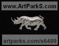 Silver Rhino and Rhinoceros Hippo and Hippopotamus sculpture statue statuette sculpture by Camilla Le May titled: 'Silver Rhino brooch (Animal Hall Marked Jewellery Adornment)'