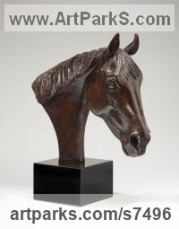 Bronze Horse Head or Bust or Mask or Portrait sculpture statuette statue figurine sculpture by Camilla Le May titled: 'Tam, (Thoroughbred Horse Portrait Head Bust Commission Custom statue)'