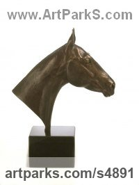 Bronze Horse Sculpture / Equines Race Horses Pack HorseCart Horses Plough Horsess sculpture by Camilla Le May titled: 'Thoroughbred Horse Head Bust/Polo Pony (bronze Portrait sculptures)'