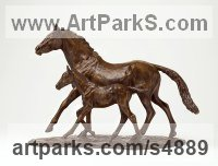 Bronze Horse Sculpture / Equines Race Horses Pack HorseCart Horses Plough Horsess sculpture by sculptor Camilla Le May titled: 'Thoroughbred Mare and Foal (Horse sculptures/statue)'