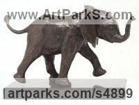 Bronze resin, cold cast bronze African Animal and Wildlife sculpture by sculptor Camilla Le May titled: 'Young Elly in mock charge (Baby Elephant sculptures/statuette/statue)'