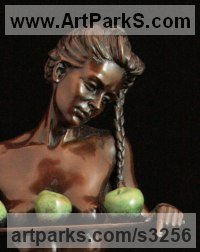 Bronze Females Women Girls Ladies sculpture statuettes figurines sculpture by sculptor Carl Payne titled: 'Eve (Bronze nude Girl with Apples/Forbidden Fruit sculpture/statuettes)'