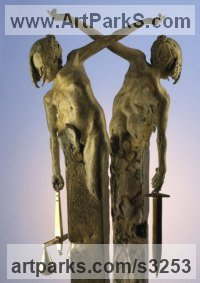 Bronze Allegorical / Parable sculpture by Carl Payne titled: 'Nemesis (nude Contemporary statue of Justice sculpture)'
