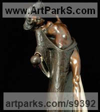 Bronze Nude sculpture statuette Figurine Ornament sculpture by sculptor Carl Payne titled: 'Persephone - Return to Hades (Bronze little nude statue)'