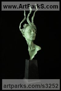 Bronze Mythical sculpture by Carl Payne titled: 'Persephone (Bronze Beautiful Woman Girl Head Bust statue)'