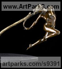 Bronze Nude sculpture statue statuette Figurine Ornament sculpture by Carl Payne titled: 'Rapunzel (Dancing nude Naked Girl statuettes for Sale)'