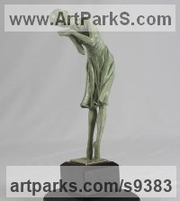 Bronze Dance Sculptures and Ballet sculpture by sculptor Carl Payne titled: 'Reverie (On Points Dancer sculpture statuettes)'