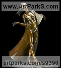 Bronze Stylised Nude statue sculpture statuette ornament sculpture by Carl Payne titled: 'Sienna (Little Bronze Walking nude sculpture statuette)'
