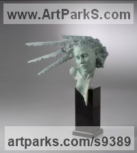 Bronze Figurative Abstract Modern or Contemporary Sculptures Statues statuary statuettes figurines sculpture by Carl Payne titled: 'Sunburst Mask'