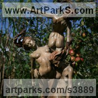 Bronze Nudes, Female sculpture by sculptor Carl Payne titled: 'Three Graces (Bronze nude Beautiful Girls garden statue)'