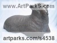 Bronze Resin Sheep, Goats Ewes, Rams, Tups, Lambs, Wether, Sculptures or Statues sculpture by Carol Acworth titled: 'Ewe (bronze resin Lying Resting Sheep garden/Yard statues sculptures)'