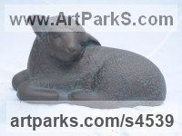 Bronze Resin Stylized Animals sculpture by Carol Acworth titled: 'Lamb (Sleeping Resting garden Yard sculpture statue)'