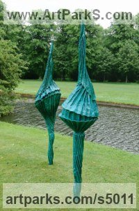 Roofing felt, Steel, Polyurethane, Resin Garden Or Yard / Outside and Outdoor sculpture by Carole Andrews titled: 'Blue Franchettii (Outsize garden Flower sculpture)'