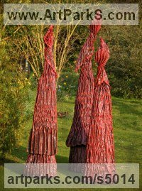 Roofing Felt, Steel, Polyurenthane, Resi Abstract Contemporary Modern Outdoor Outside Garden / Yard Sculptures Statues statuary sculpture by Carole Andrews titled: 'Red Sentinels (Contemporary Floral garden statues)'
