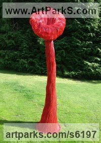 Aluminium Resin Flamboyant Colourful Exuberant Exotic Gaudy Gorgeous Dedcorative Vivid Brightly Coloured Spectacular sculpture by Carole Andrews titled: 'Red Villosa (Giant Outsize abstract Floral garden/Yard decorations)'