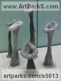 Aluminium, Resin Abstract Contemporary or Modern Outdoor Outside Exterior Garden / Yard Sculptures Statues statuary sculpture by Carole Andrews titled: 'Villosa Group (Stylized abstract Yard/garden Decoration Embelishment)'