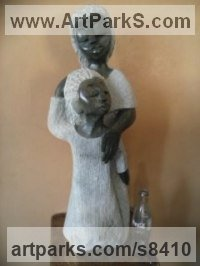 Opal stone Love / Affection sculpture by Cassian Munhundarima titled: 'Mother and daughter (Intimacy Moments statuette)'
