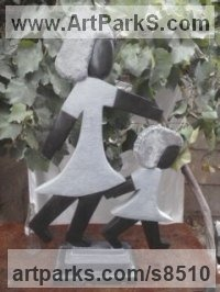 Stone Children Child Babies Infants Toddlers Kids Sculptures Statues statuettes figurines sculpture by Cassian Munhundarima titled: 'Walking sisters'