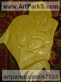 Wood Mother and Child, the Madonna, mother and children sculpture by Catalin Moldovan titled: 'Holy Family Nativity (Carved Wood Low Relief Wall Hanging Decoration)'