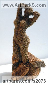 Burdock Burrs Abstract Modern Contemporary Avant Garde sculpture statuettes figurines statuary both Indoor Or outside sculpture by sculptor Ceca Georgieva titled: 'Good Morning (Small nude Girl dried flower figurine)'