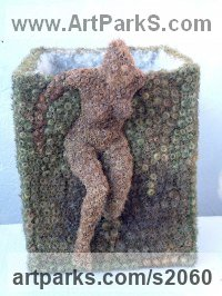 Burdock burrs,feathers Females Women Girls Ladies sculpture statuettes figurines sculpture by sculptor Ceca Georgieva titled: 'Outside the box (Little nude Girl escaping Box statuette or Figurine)'