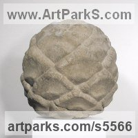 Reconstituted limestone Organic / Abstract sculpture by Charles A. Johnson titled: 'Cypress Cone (Big Outsize Large Fruit Seed statue)'