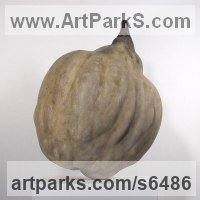 Reconstituted limestone or sandstone Fruit sculpture by Charles A. Johnson titled: 'Quince (Big/Outsize/Large Fruit garden statues)'