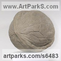 Reconstituted limestone Outsize Big Large Fruit Flower Plant sculpture statue statuaryGarden Ornament sculpture by Charles A. Johnson titled: 'Walnut (Outsize Nut Outdoors Yard Indoor statue)'