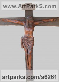 Mubanga wood(found in Zambia) Crucifiction Christian Cross Alter Piece sculpture carvings sculpturettes sculpture depicting the crucfiction sculpture by sculptor Charles Chambata titled: 'Crucifix (The mission of Jesus Carved Wood Crucifiction statue/carving)'