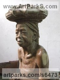 Mukwa wood Carved Wood sculpture by sculptor Charles Chambata titled: 'Forgotten generation (African Beauty)'