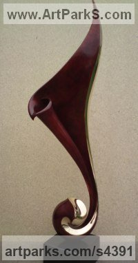 Bronze Organic / Abstract sculpture by Charles Westgarth titled: 'Rhythm (bronze abstract Swirling Indoor statuette)'