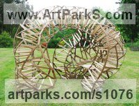 Wood - Green Oak & Ash Architectural sculpture by sculptor Charlie Whinney titled: 'Coral Arbour 2 (Large Modern abstract garden/Yard Wood statues)'
