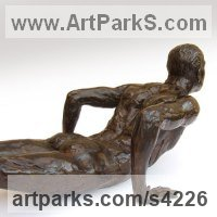 Bronze Male Men Youths Masculine sculpturettes figurines sculpture by sculptor Chris Bower titled: 'Male Gymnast (nude Bronze Fit Male Athlete sculpture)'