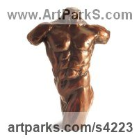 Bronze Male Men Youths Masculine sculpturettes figurines sculpture by sculptor Chris Bower titled: 'Male Torso II (Small nude Musceley bronze sculpture)'