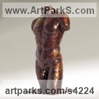 Bronze Male Men Youths Masculine sculpturettes figurines sculpture by sculptor Chris Bower titled: 'Male Torso III (Small Bronze Muscled nude Roman statue)'