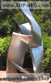 Stainless Steel Abstract Modern Contemporary Avant Garde sculpture statuettes figurines statuary both Indoor Or outside sculpture by sculptor Chris Rench titled: 'Growth (stainless steel abstract garden statue)'