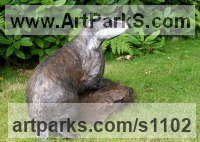 Badger, Otter, Beaver, Weasel, Wombat Sculpture by sculptor artist Christa Hunter titled: 'Into the Moonlight (Playful life size Young Badger statues/sculptures)' in Bronze resin