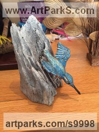 Lime wood Wild Bird sculpture by Christian Lancaster titled: 'Diving Kingfisher (Carved Wood Painted statue)'