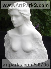 Solid Carrara marble Nudes, Female sculpture by sculptor Christian Wilson titled: 'Emerging Form (Carved marble Girl`s head)'