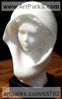Pure Alabaster Sculpture of Children by Christian Wilson titled: 'Hooded Girl (Small/Little Alabaster Carved Young female statuette/statue)'