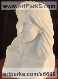 Solid Italian Carrara Marble Carved Stone, Marble, Alabaster, Soap Stone Granite Lime stone sculpture by sculptor Christian Wilson titled: 'Portrait Bust of Amy Winehouse (Carved marble Portrait Bust/Head statue)'