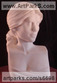 Solid Greek Marble (Sivec, pure white) Carved Stone, Marble, Alabaster, Soap Stone Granite Lime stone sculpture by sculptor Christian Wilson titled: 'Portrait Bust of PE (Commission Carved stone/Alabaster Head?Bust statue)'