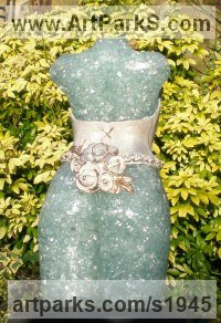 Recycled windscreen glass/ resin Females Women Girls Ladies Sculptures Statues statuettes figurines sculpture by Christine Close titled: 'Baroque (Recycled Glass female Torso garden statue)'
