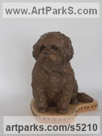 Dogs sculpture by Christine Close titled: 'Buster (Memorial Commission Bronze Dog sculptures)'