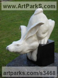 Marble resin Farm Yard sculpture by Christine Close titled: 'Haregrip (Fun Mad March Hare marble sculptures)'